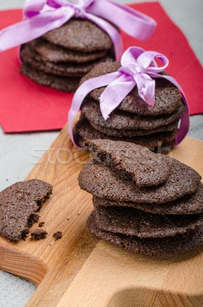 ダークチョコレート ビスケット 自家製 80 パーセント チョコレート ストックフォト © Peteer