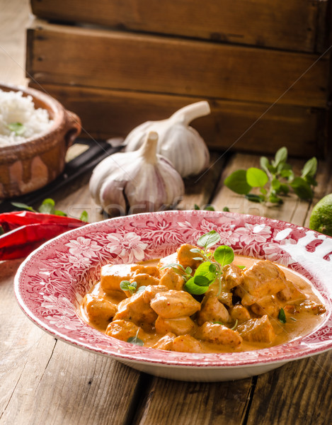 Chicken curry with herbs Stock photo © Peteer