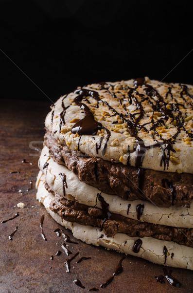 Chocolade cake heerlijk ei noten voedsel Stockfoto © Peteer