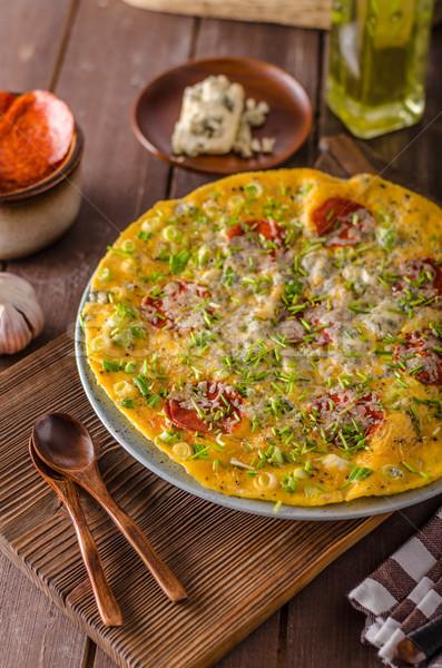ストックフォト: サラミ · ブルーチーズ · ハーブ · チーズ · 背景