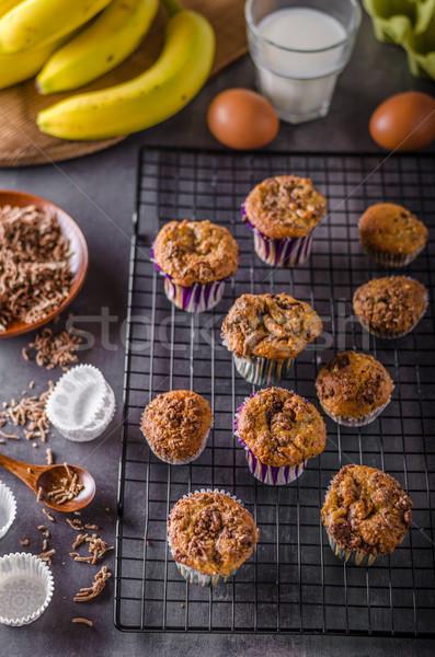 Banán teljes kiőrlésű muffinok egészséges finom csokoládé Stock fotó © Peteer