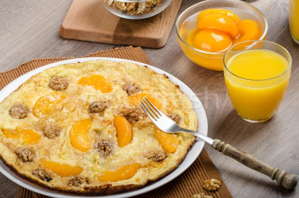 Tatlı yumurta şeftali tarçın vanilya gıda Stok fotoğraf © Peteer