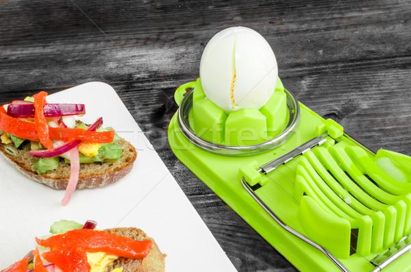 Stock photo: Brown bread with avocado, smoked salmon, boiled egg