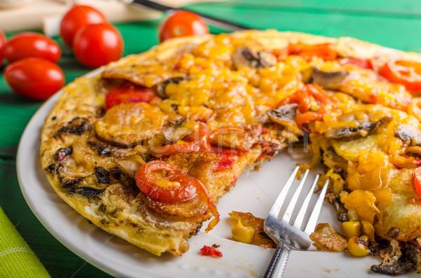 Stockfoto: Aardappel · chorizo · tomaten · voedsel · groene · Blauw
