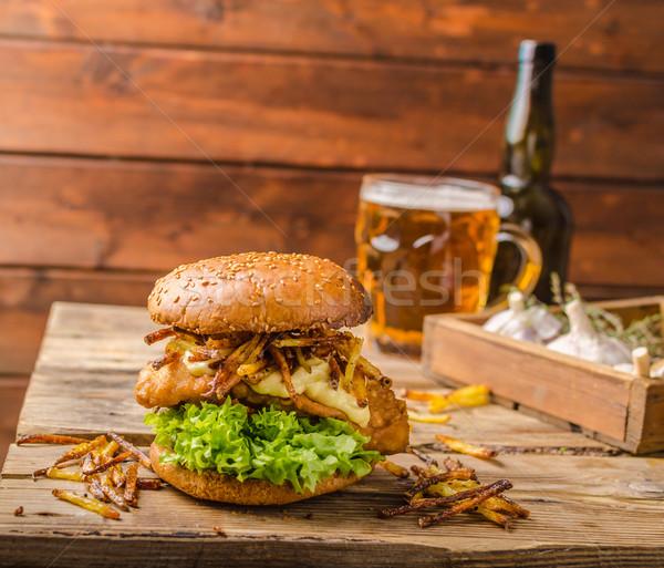 Stock photo: Fish and Chips Burger