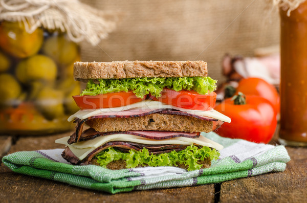 Smoked meat sandwich Stock photo © Peteer