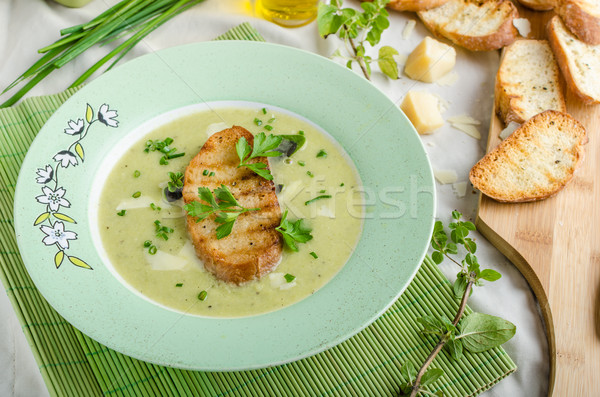 Creamy leek herby soup with toast Stock photo © Peteer