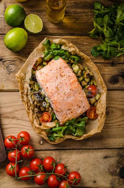 Lazac sült mediterrán zöldségek étel fehér Stock fotó © Peteer