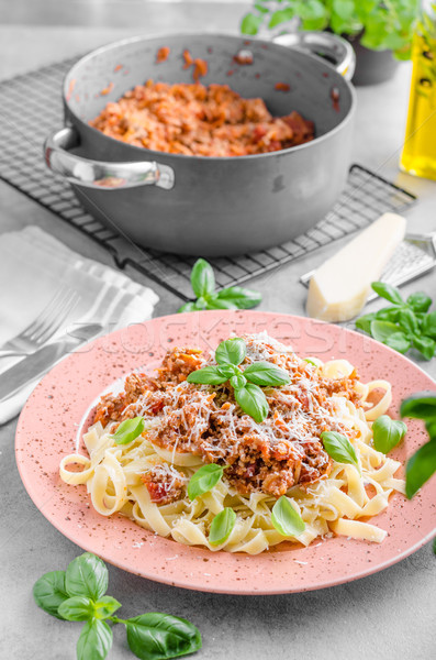 Stock photo: Pasta bolognese delish food
