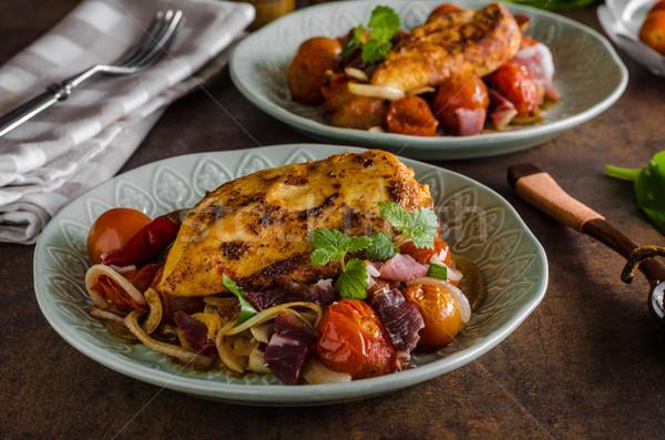 Gegrilde kip biefstuk plantaardige voedsel borst Stockfoto © Peteer