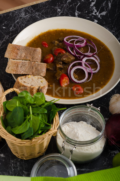 Original Czech beef goulash Stock photo © Peteer