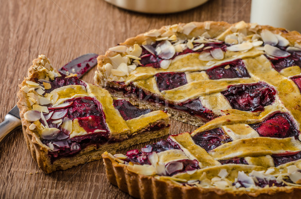 Shortbread tart with cherries Stock photo © Peteer
