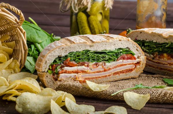 Stok fotoğraf: İtalyan · sandviç · tok · lezzetli · jambon · peynir