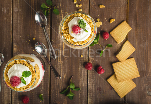 Inverted cheesecake dessert in glass Stock photo © Peteer