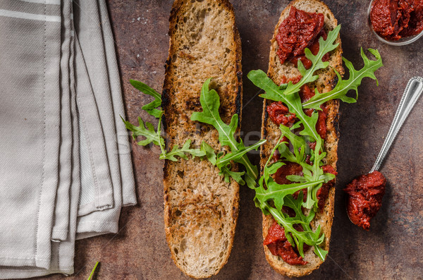 Rustic baguette with herbs and chorizo Stock photo © Peteer