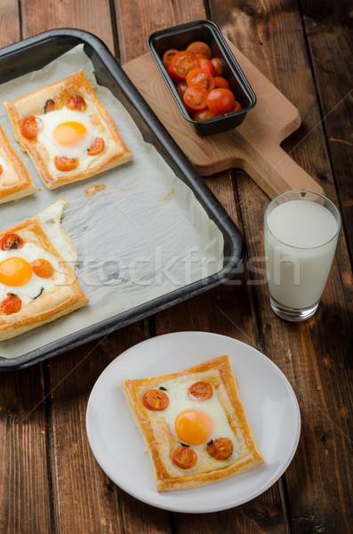 Tomato, Egg, and Prosciutto Tart Stock photo © Peteer