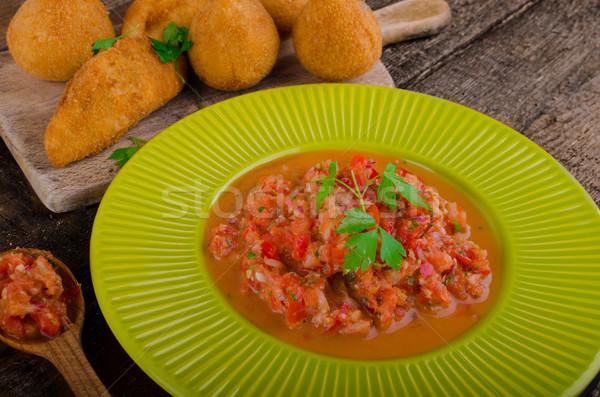 Pollo comida de la calle popular mundo relleno frito Foto stock © Peteer