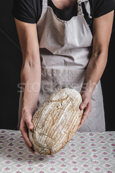 Homemade bread from young woman chef Stock photo © Peteer