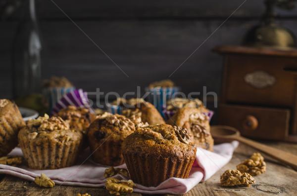 Stockfoto: Geheel · graan · muffins · pure · chocola · noten · rustiek