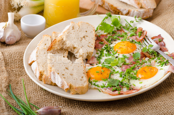 Spring omelette with bacon, egg and herbs Stock photo © Peteer