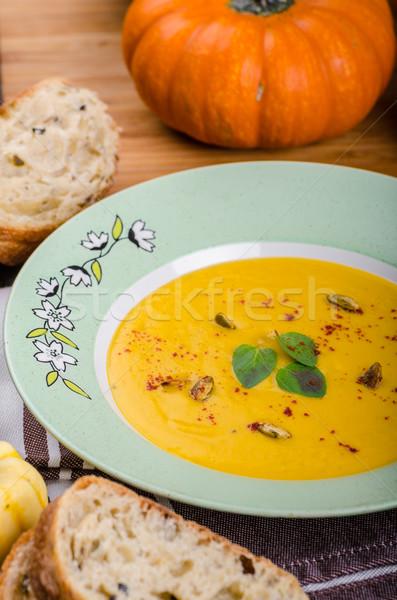 Kremsi kabak çorba lezzetli baharatlı Stok fotoğraf © Peteer