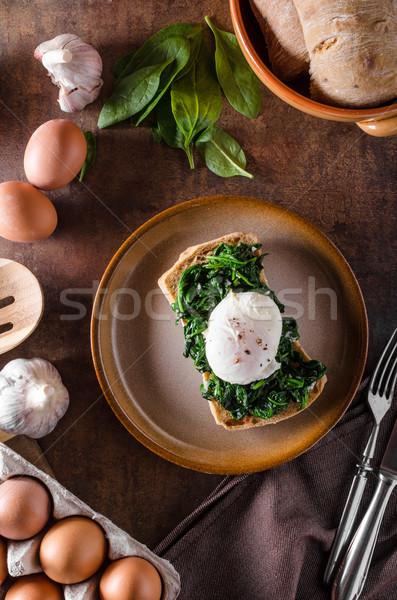 Huevo ajo espinacas tostado verde huevos Foto stock © Peteer