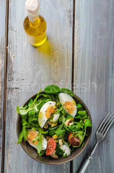 Cordero lechuga ensalada huevos nueces Foto stock © Peteer
