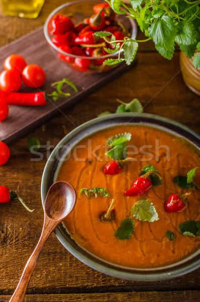 томатный суп хлеб чили травы оливкового масла древесины Сток-фото © Peteer
