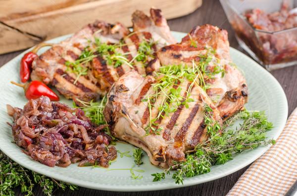 Gegrild varkensvlees ui kruiden voedsel groene Stockfoto © Peteer