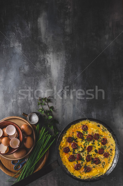 Omelette with sausage Stock photo © Peteer