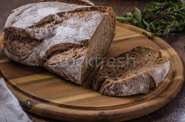 Rántotta teljes kiőrlésű kenyér friss zöld tojások Stock fotó © Peteer