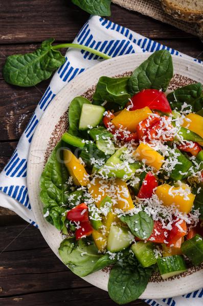 Gemengd salade plantaardige geitenkaas top voorjaar Stockfoto © Peteer