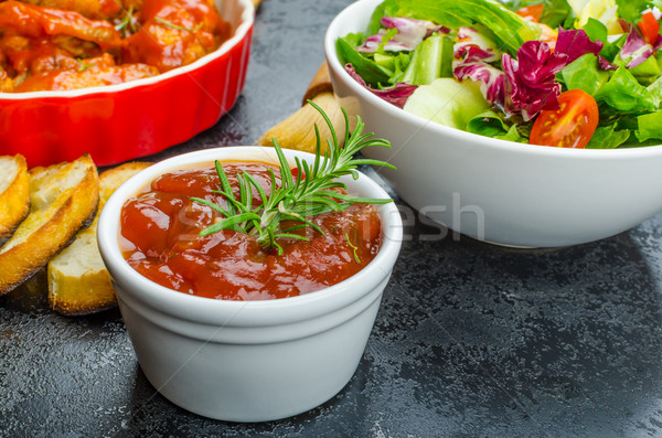 Hot chicken wings, habanero souce, salad Stock photo © Peteer