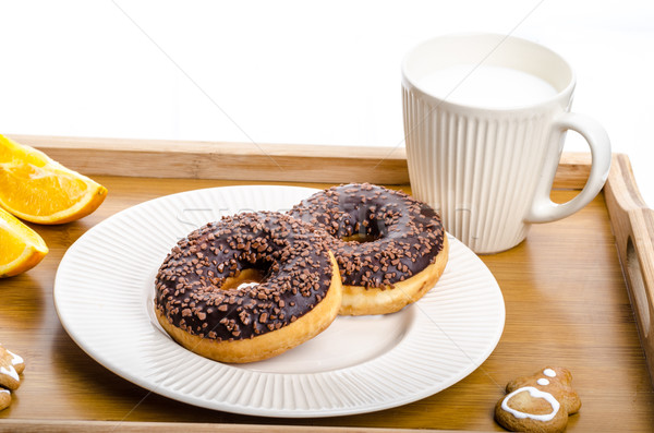 Stockfoto: Ontbijt · dienblad · donut · oranje · melk · christmas