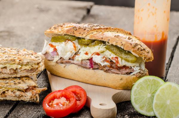 свинина сэндвич Панини версия долго Сток-фото © Peteer