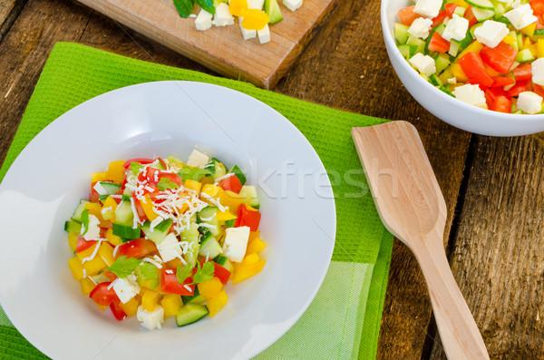 Bulgarian salad with feta cheese Stock photo © Peteer