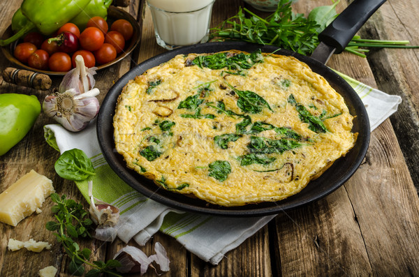 Frittata with spinach and garlic Stock photo © Peteer