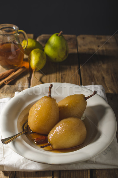 Pears glazed in tea and cinnamon Stock photo © Peteer