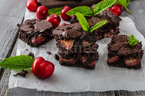 Chocolate brownies with cherries Stock photo © Peteer
