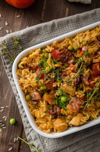 Stock photo: Cajun chicken with rice