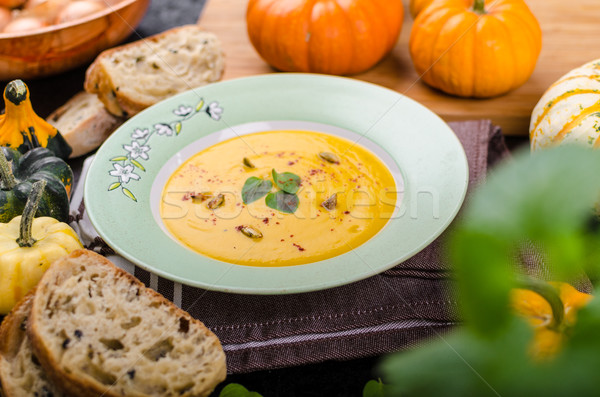 Creamy pumpkin soup Stock photo © Peteer