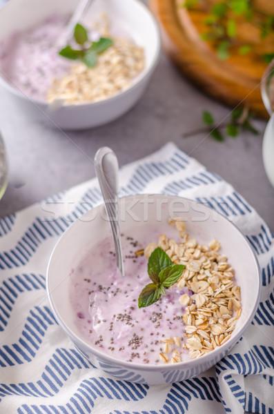 Stok fotoğraf: Sağlıklı · kahvaltı · yoğurt · gıda · sağlık · yaz