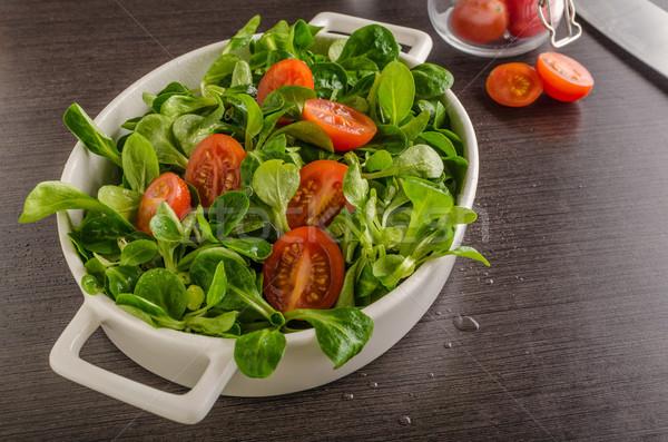 ストックフォト: 子羊 · レタス · サラダ · トマト · ハーブ · 食品