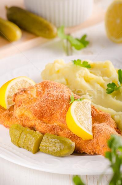 Fresh weiner schitzel original, mashed potatoes Stock photo © Peteer
