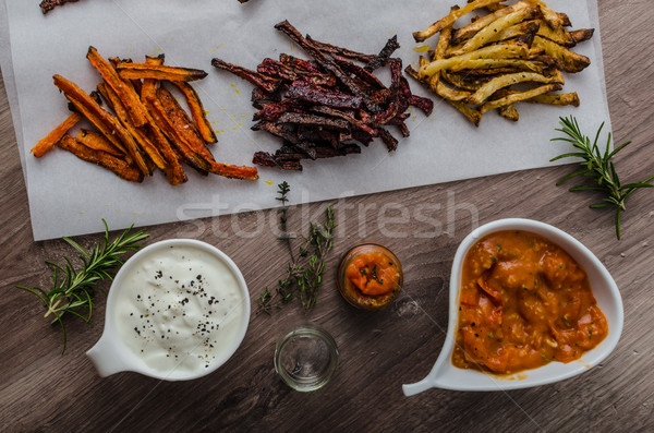 Healthy vegetable chips - french fries beet, celery and carrots Stock photo © Peteer