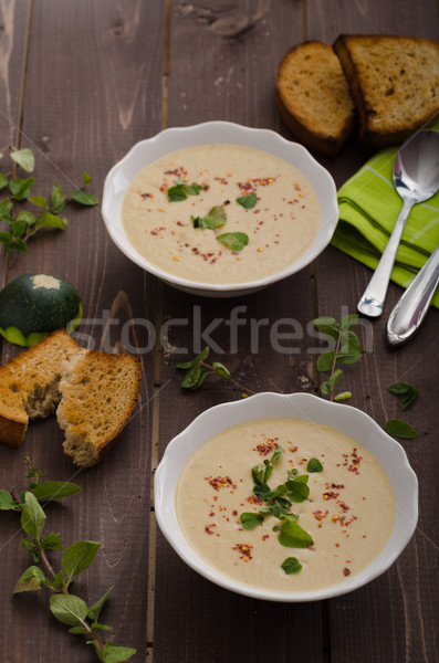 Creamy zucchini soup with chilli and oregano Stock photo © Peteer