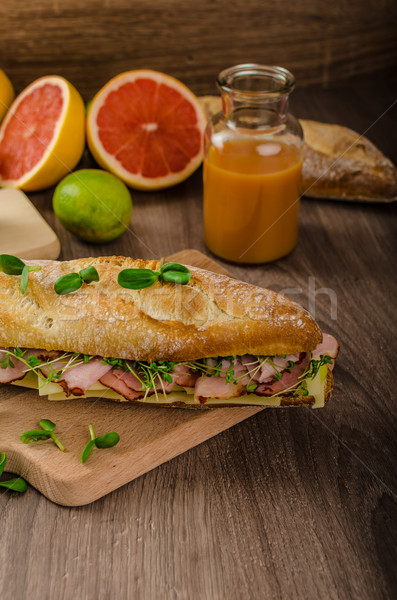Rustic baguettes with smoked rump Stock photo © Peteer