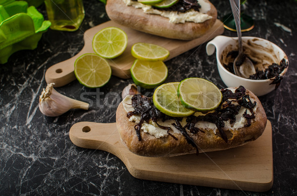 Helthy bread with cheese and caramelized onions Stock photo © Peteer