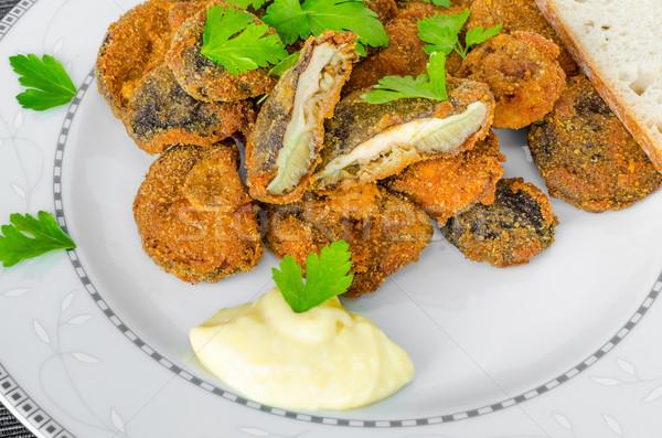 Frito setas casero mayonesa frescos hierbas Foto stock © Peteer