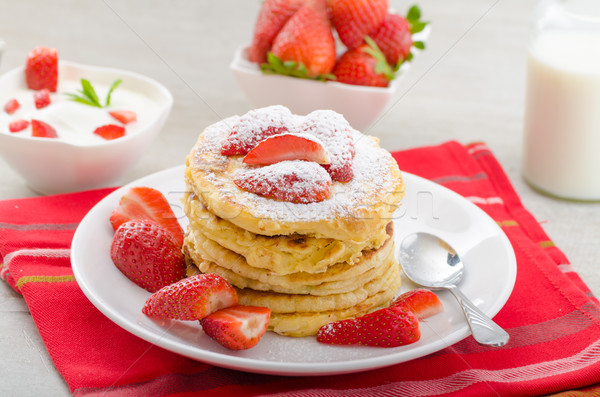 Fluffy pancakes with strawberries Stock photo © Peteer